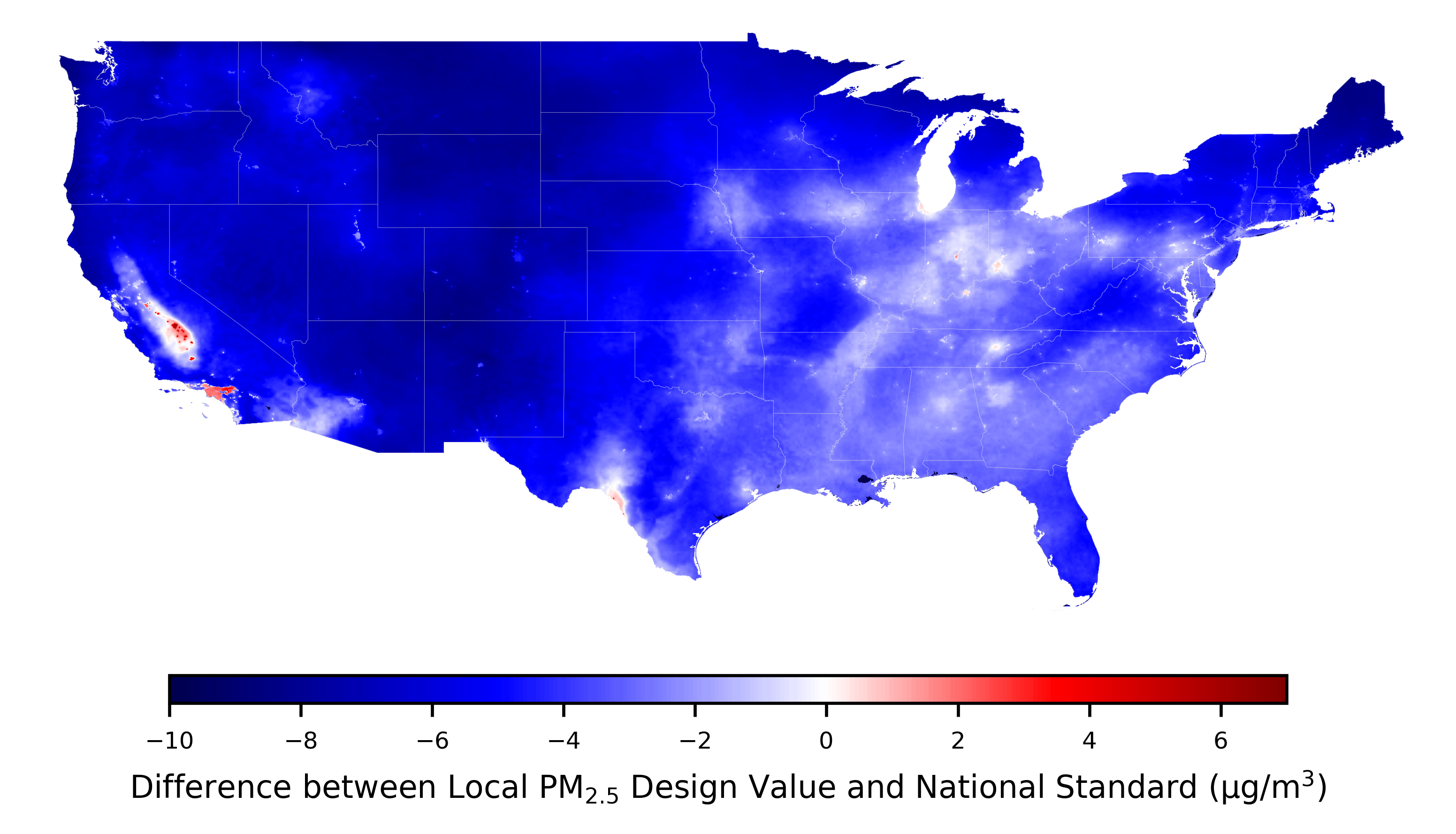 Using Satellite Data To Fill The Gaps In The Us Air Pollution - Air-pollution-us-map